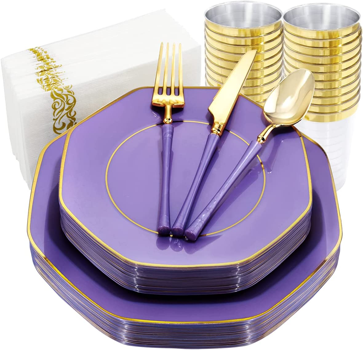KIRE 20 Guests Purple Plastic Plates Disposa with Rim Gold Albuquerque Mall Ranking TOP17
