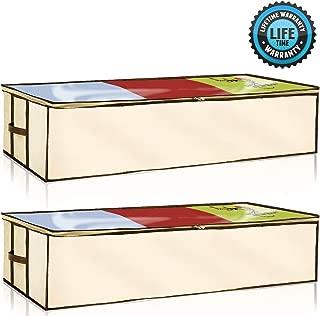 Ziz Home Zippered Under Bed Storage Bag 2 Pack | Soft Breathable Anti-Mold Fabric | Used for Underbed Clothes Storage Linen Storage Blanket Storage Sweater Storage Duvet Storage Bins Clear Window
