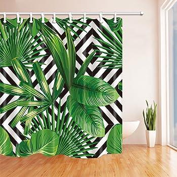 SHUHUI Plantes Tropicales D/écor Jungle Vert Feuilles bananier Rideau Douche D/écorations en Tissu /à la Crochets