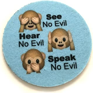See no evil, Hear no evil, Speak no evil car coasters for your car's cup holder- Monkey face emoji coasters-Makes a great gift