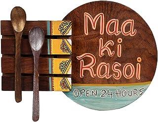 Aakriti Art Creations Hand-Painted Decorative 'MAA KI RASOI' Kitchen Slogan in multi-colours, Sheesham Wood, 7.4 x 2.4 x 9...