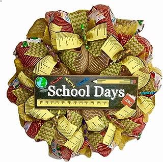 School Days Door Wreath With Crayons Handmade Deco Mesh
