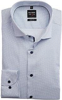 OLYMP Level Five - Camisa de manga larga con cuello de tiburón, diseño elástico, color azul
