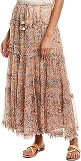 Womens Chiffon Midi Skirt, S, Pink
