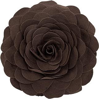 Fennco Styles Eva's Flower Garden Decorative Throw Pillow with Insert - 13 inch Round (Chocolate, 13