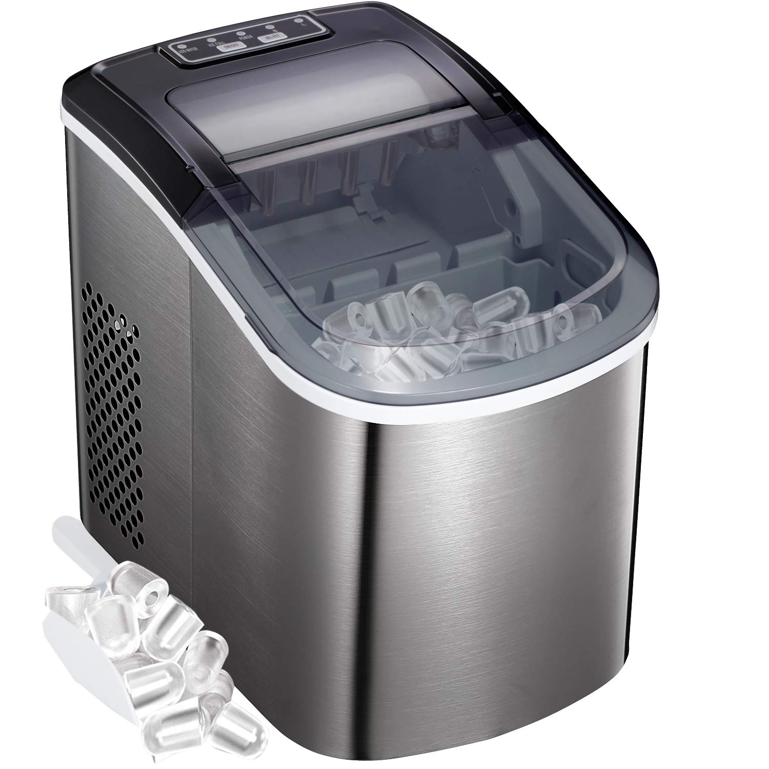 Amazon Com Bossin Countertop Ice Maker Portable Ice Making Machine Bullet Ice Cubes Ready In 6 Mins Makes 26 Lbs Ice In 24 Hrs Perfect For Home Office Bar 2 Qt Water Tank