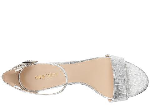Nine West Silver metalizado Leisa PU Heel Sandal grabado r8gwrqdx