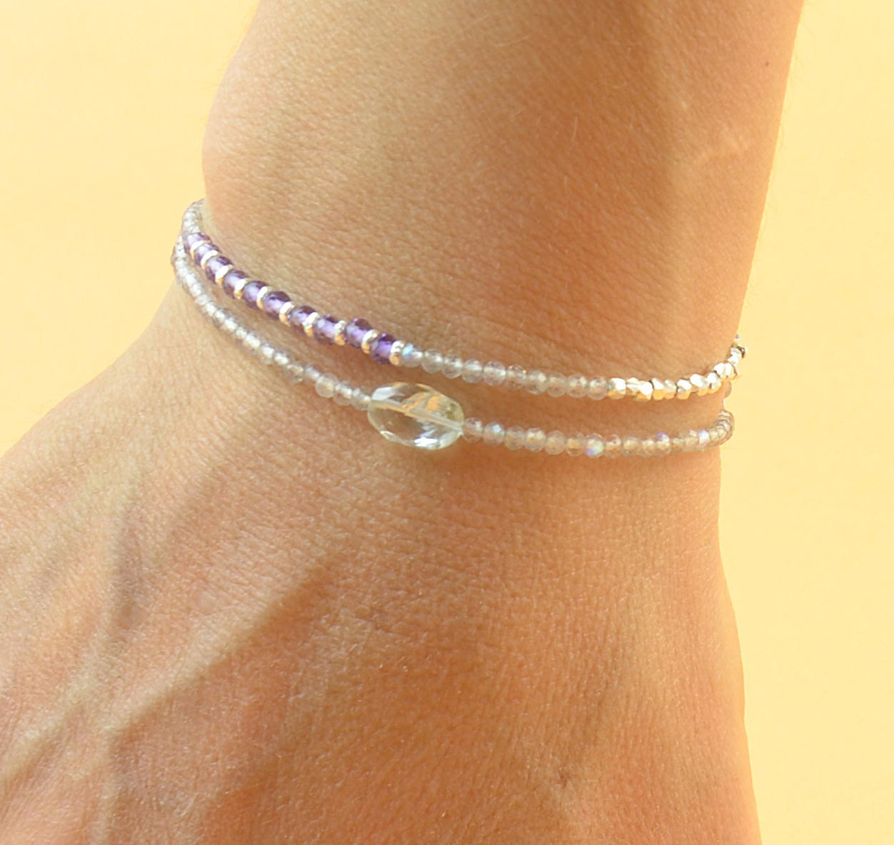 Double strand Detroit Mall multi gemstones and silver sterling bracelet beads Manufacturer direct delivery