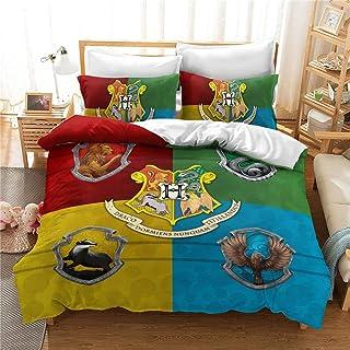Conjuntos de Harry Potter Magic School edredón cubierta de la impresión del lecho cómodo con cierre de cremallera y 2 funda de almohada anti-alérgica funda nórdica para los niños,Magic 10,260x220cm