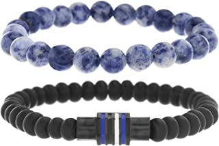Men's Black and Blue Beaded Double Strand Stretch Bracelet Set with Stainless Steel Black IP Rondelle Beads