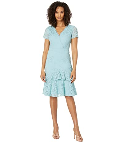 Adrianna Papell Felicity Lace Flounce Dress (Aqua Luster) Women