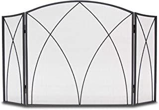 Napa Forge Spire Fireplace screen with arch frame 3 panels, Black