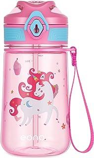 Amazon Brand - Eono Botella de Agua Niños, 420ml Reutilizable Tritan Plástico sin BPA Botella Agua Niños a Prueba de Fuga...