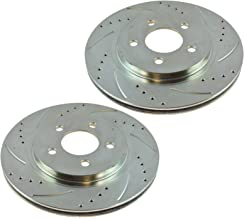 Performance Brake Rotor Drilled Slotted Rear Zinc Coated Pair for Ford