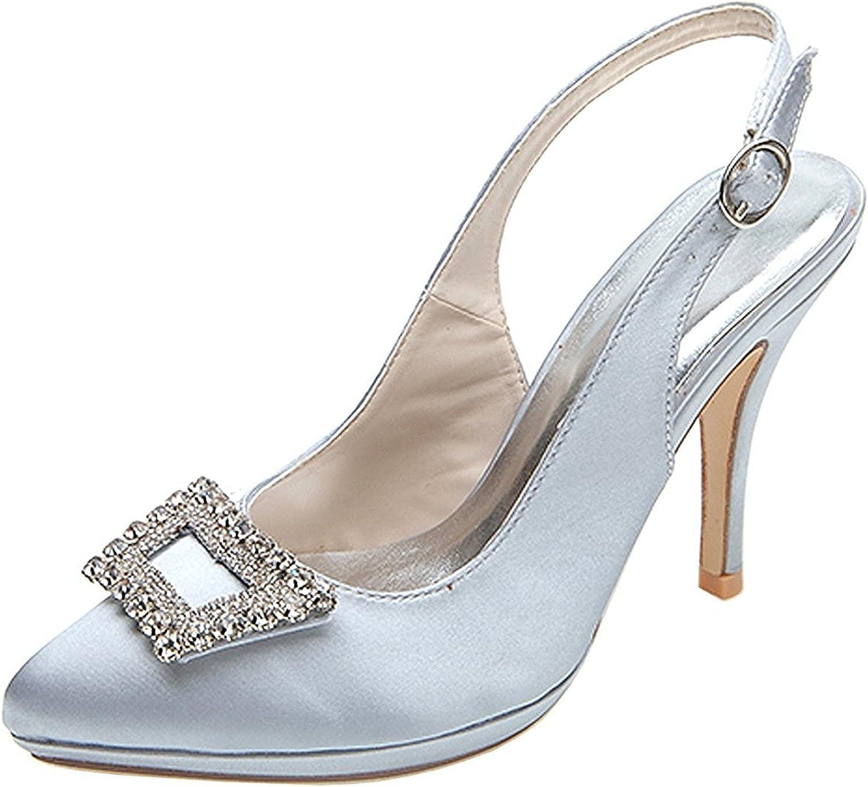 Verescha Women's Pointed Toe Rhinestones Satin Ankle Strap Pumps Bridal shoes
