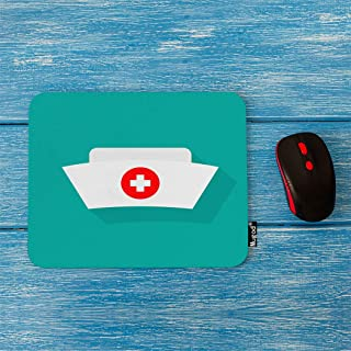 Mugod Hat Mouse Pad White Nurse Hat with Cross Isolated on Light Green Background Decor Gaming Mouse Pad Rectangle Non-Slip Rubber Mousepad for Computers Laptop 7.9x9.5 Inches