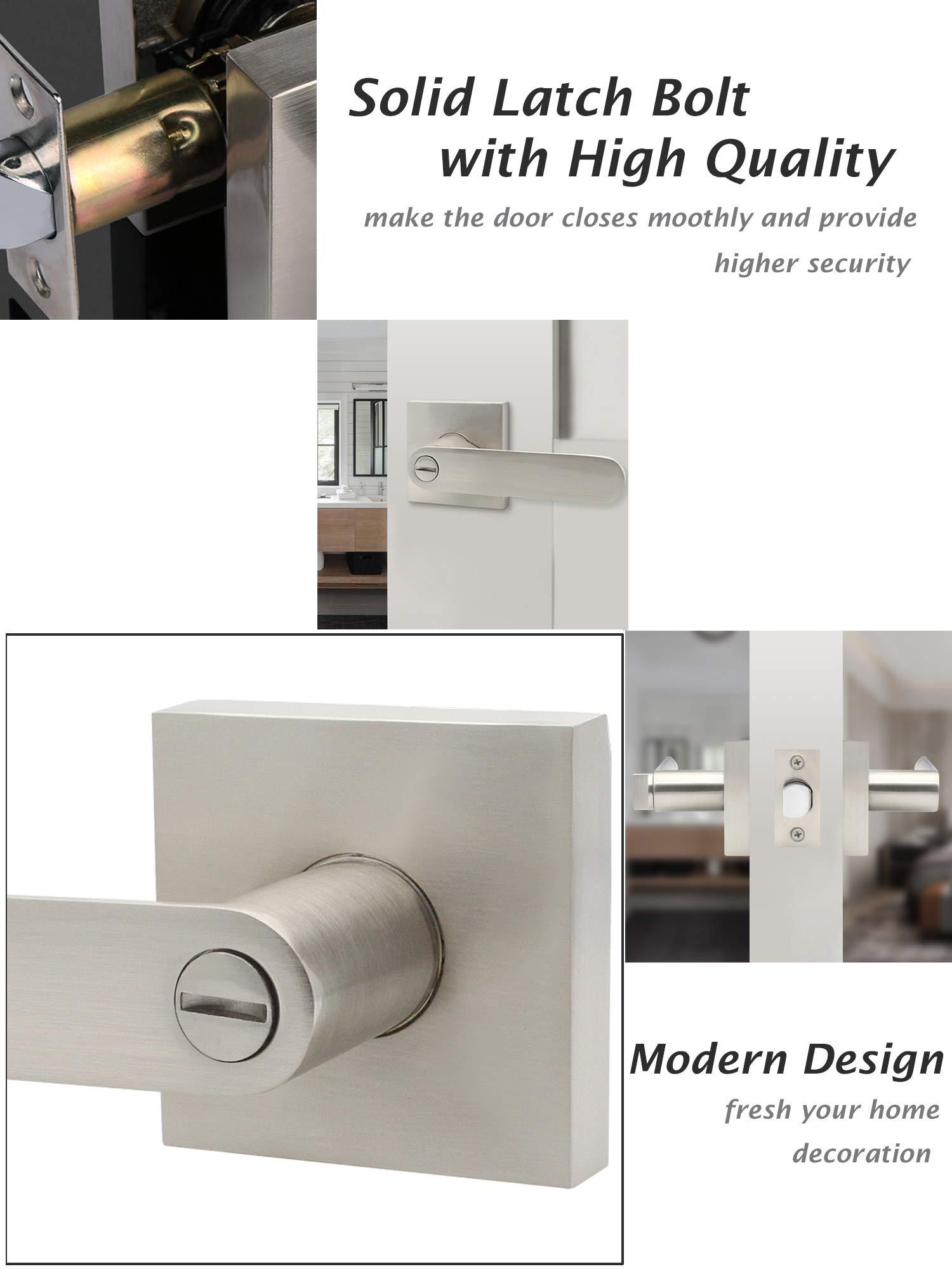 Iridium Door Handle, Matte Black Satin GR Door Handle Thin Corner Rosette Black Matt Interchangeable Set BB//PZ//WC L-Shape Metal for Interior Doors Door Fittings Door Handles