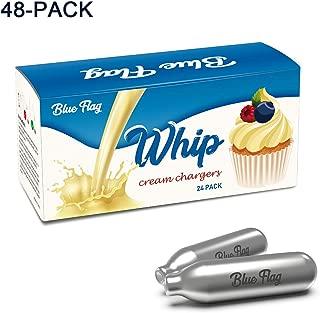 Blue Flag Whipped Cream Chargers N2O Nitrous Oxide 8-Gram Cartridge for Whipper Whipped Cream Dispenser (48 Packs)
