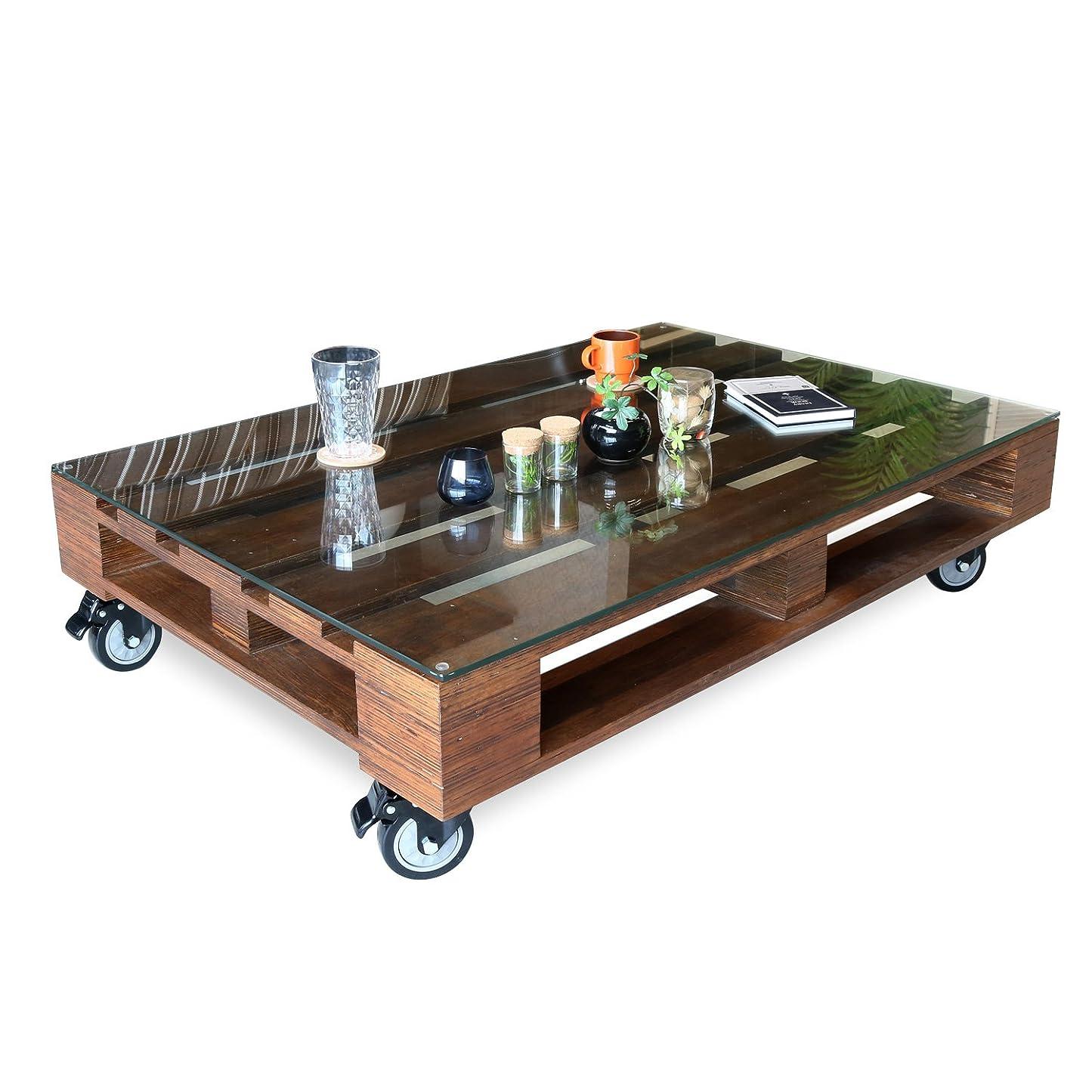 警告深さ百科事典ヴィンテージ風 センターテーブル 120 Adore アドア ガラス テーブル キャスター キャスター付き アンティーク レトロ 北欧 ロータイプ 低め リビングテーブル 木製 天然木 桐 パレット ローテーブル おしゃれ 選択,ブラウン