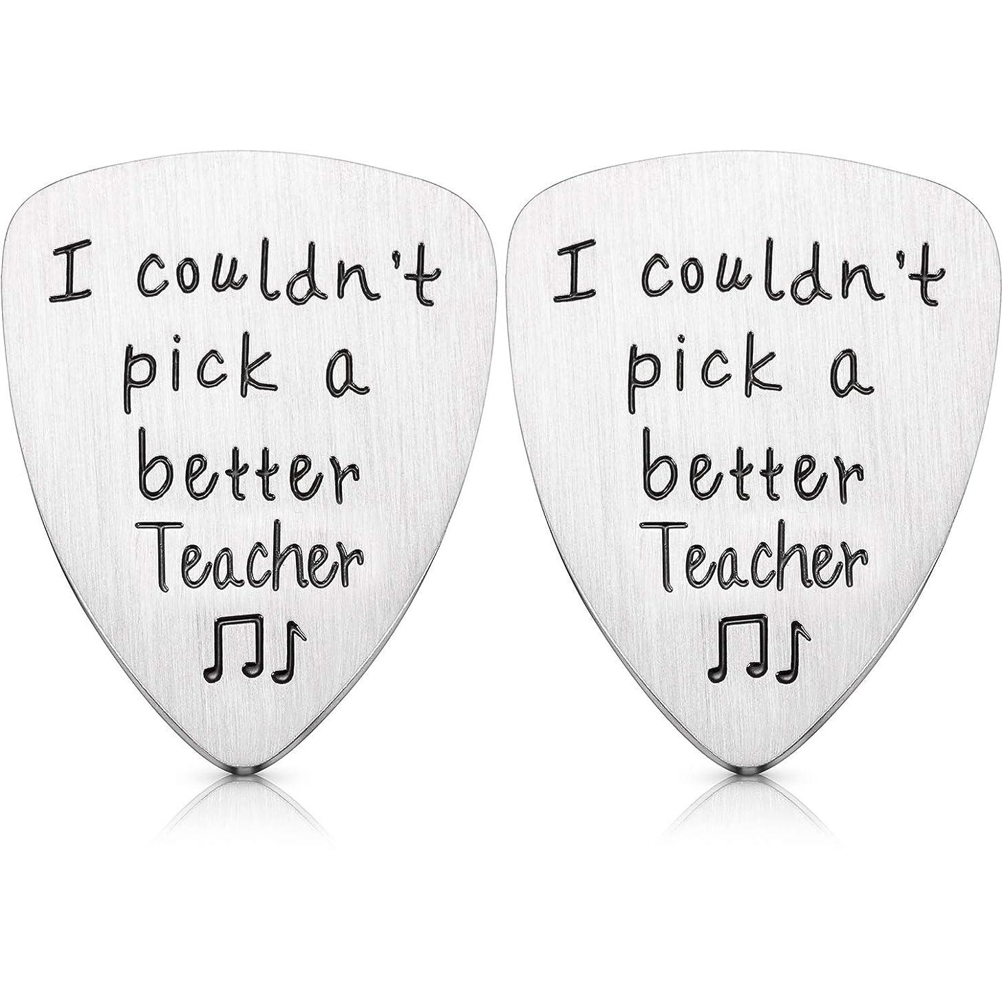 Yaomiao 2 Packs Teacher Appreciation Gift Guitar Pick, I Couldn't Pick A Better Teacher Steel Guitar Pick Gift for Teacher, Thank You Gifts for Musicians Men Women