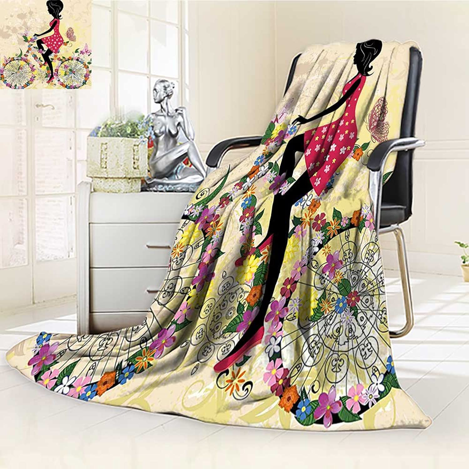 YOYIHOME Plush Throw Duplex Printed Blanket Super Soft and CozyGirls Decor A Girl on The Bicycle with Flowers and Butterflies Beige and Light Pink Blanket Perfect for Couch Sofa W59 x H47