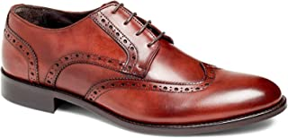 Damon Men's Wingtip Oxford Lace-up Dress Shoes Italian Leather