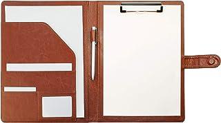 クリップボードフォルダ PUレザー会議パッドクリップファイルバインダーA4デスクパッド署名フォルダ A4書類フォルダー 契約書サイン専用 オフィス用品 事務用品 (ブラウン)…