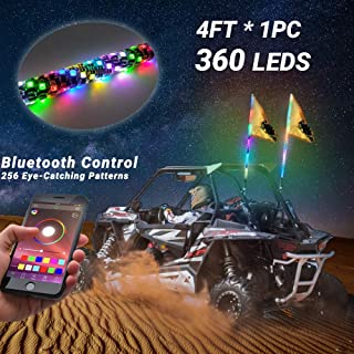 Beatto 4FT(1.2M) Bluetooth Control 360° Sprial LED Whips Light With Dacning/Chasing Light LED Antenna Light For Off- Road Vehicle ATV UTV RZR Jeep Trucks Dunes.