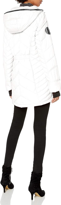 Canada Weather Gear Damen Long Puffer Jacket Daunenalternative, Mantel Weiß (Classic White)