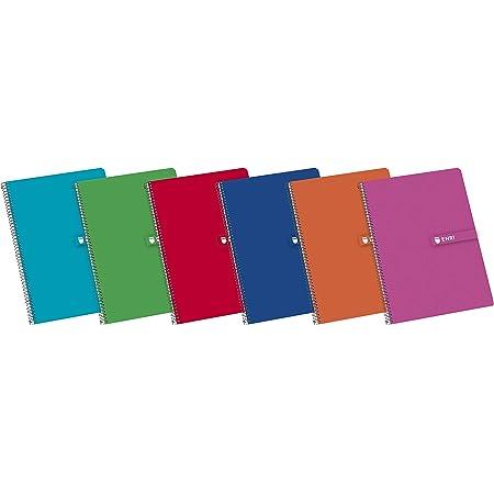 Enri, Cuadernos A4 (Fº), 5 Unidades, Tapa Dura con Espiral, 80 Hojas con Doble Pauta de 3 mm, Colores Surtidos