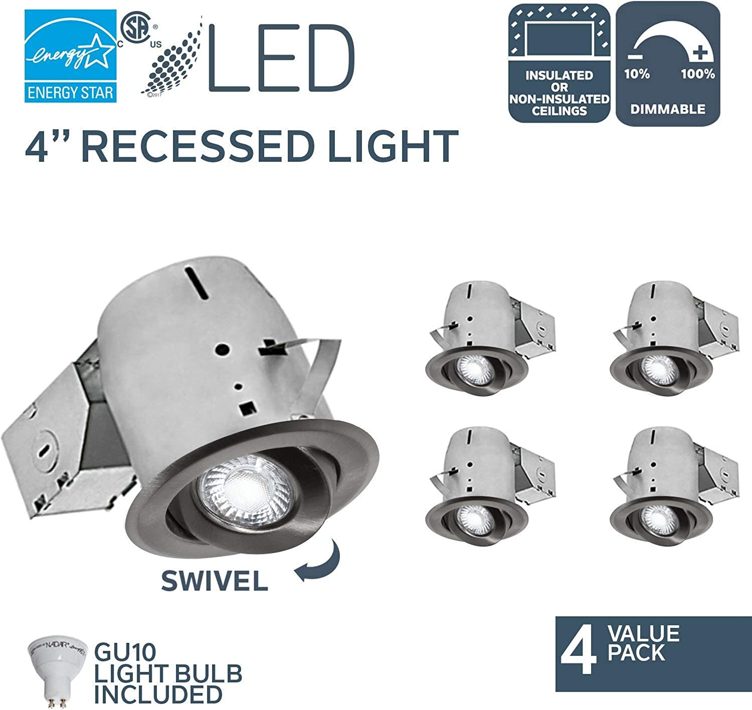 Nadair CP378L-GU4BN 4 Pack 4in LED Swivel Dimmable Downlight Recessed Light , 3000K, 4 X LED GU10 550 Lumens Bulb Included, IC Rated, Brushed Nickel