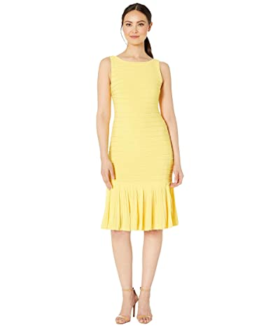 Adrianna Papell Matte Jersey Pintucked Midi Sheath Dress with Flounced Hem (Canary Yellow) Women