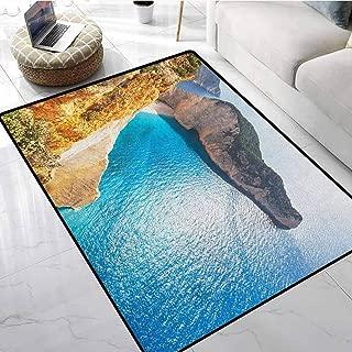 Greece Modern Area Rugs 3x4 ft Idyllic and Tranquil Sea Landscapes on Zakynthos Island Coastline Wanderlust Picture Cute Doormats
