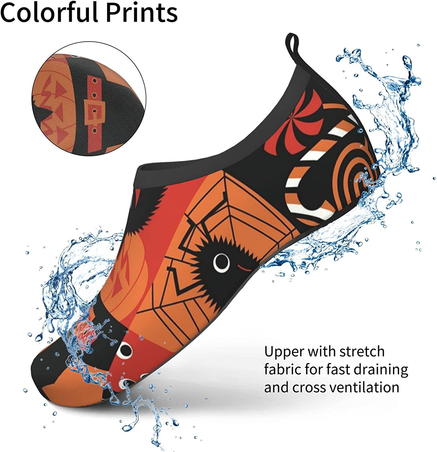Halloween Icons Water Shoes Women's Men's Outdoor Beach Swimming Aqua Socks Quick-Dry Barefoot Shoes Surfing Yoga Pool Exercise