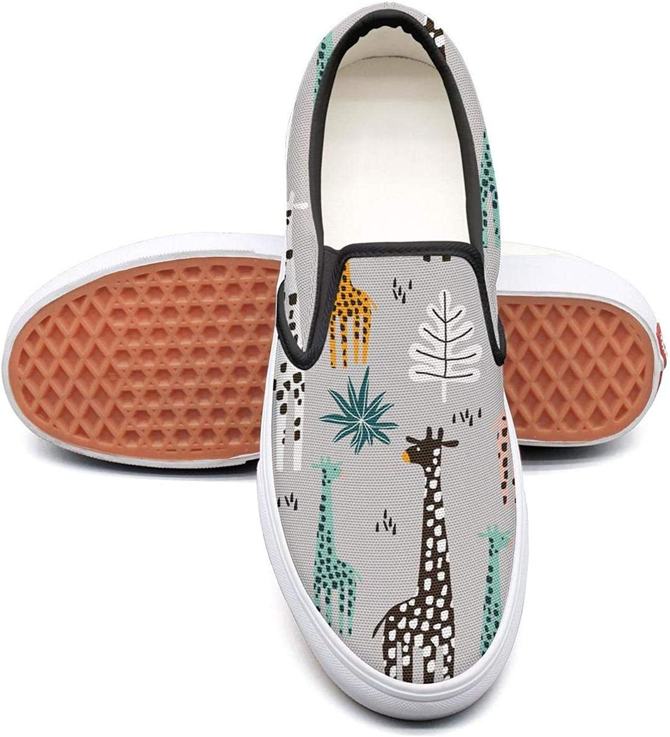 SOFIE MARTIN Grey Giraffe Palm Branch Pretty Women Leisure shoes Low Top Lightweight Wear-Resistant