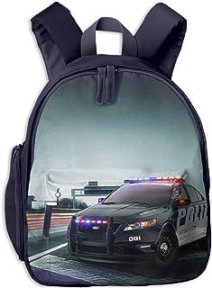 Mochila para Niños Impresionante Coche de policía de la Ciudad, Mochila Escuela Primaria de Edad Peso Ligero Pérdida Mochila de Viaje para Chico Chica