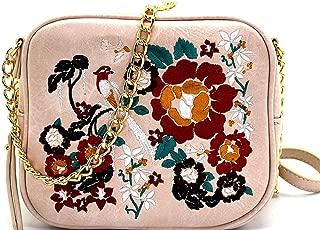Floral Embroidery Mini Box Cross Body- Bone