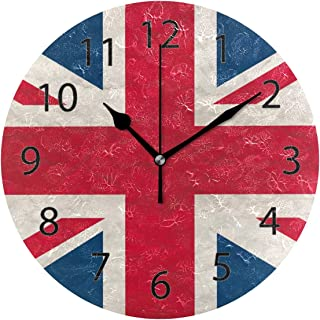 XiangHeFu Wall Clock,Round 10 Inch Diameter Silent UK Flag Decorative for Home Office School
