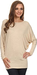 Women's Casual Solid Dolman Sleeve Long Sleeve Knit Loose Fit Tunic top/Made in USA