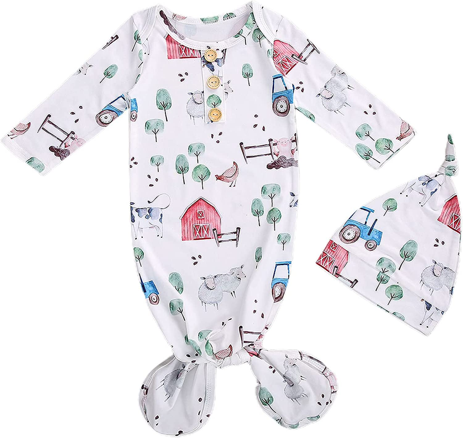 Unisex Infant Baby Gown Sleeping Bag Newborn Boy Girl Knotted Sleeper Nighgown Pajamas Coming Home Outfits (C Cute Animal, 0-3 Months)