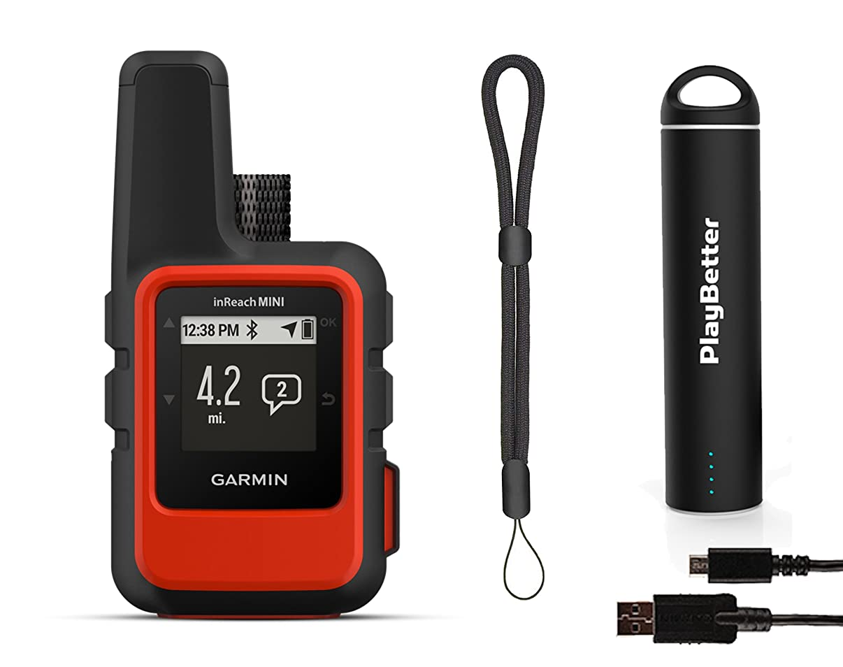 Garmin inReach Mini (Orange) Satellite Communicator Bundle   +PlayBetter Portable Charger & GPS Tether   Belt, Carabiner Clip   Hiking GPS, GEOS Emergency, Weather, Messaging