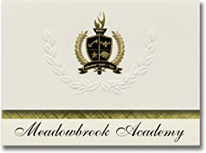 Signature Announcements Meadowbrook Academy (King, NC) Graduation Announcements, Presidential style, Elite package of 25 with Gold & Black Metallic Foil seal