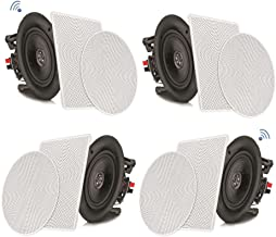 "Pyle 8"" 4 Bluetooth Flush Mount In-wall In-ceiling 2-Way Speaker System Quick Connections Changeable Round/Square Grill Polypropylene Cone & Tweeter Stereo Sound 4 Ch Amplifier 250 Watt (PDICBT286)"