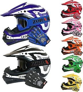 Leopard LEO-X17 ECE 2205 Genehmigt Kinder Motocross MX Helm Motorradhelm Crosshelm Kinderquad Off Road Enduro Sport  Handschuhe  Zorax Brille - Rot M 51-52cm