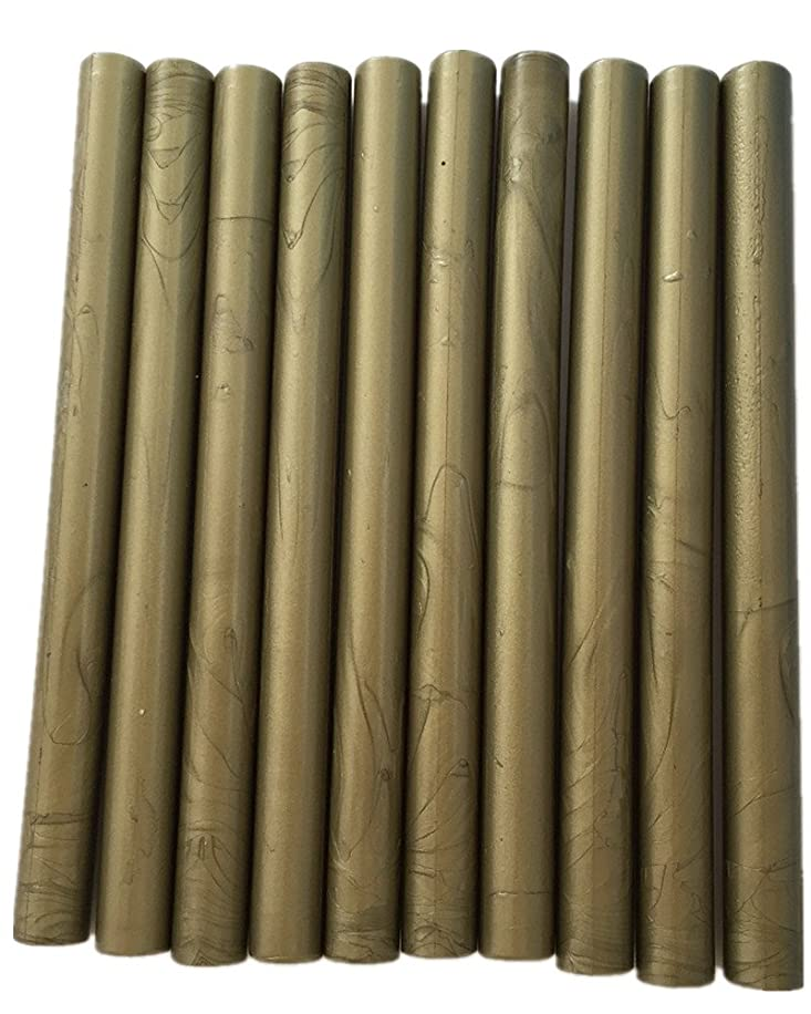 XICHEN10PCS Vintage Sealing Glue Gun Sealing Wax Wax Sticks Wax Seal Supplies a Variety of Colors (Green Gold)