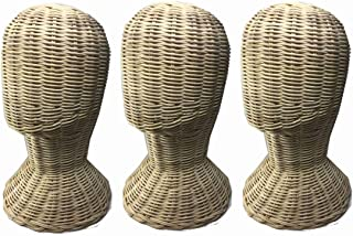 3 pieces Rattan Mannequin Head Stand 11