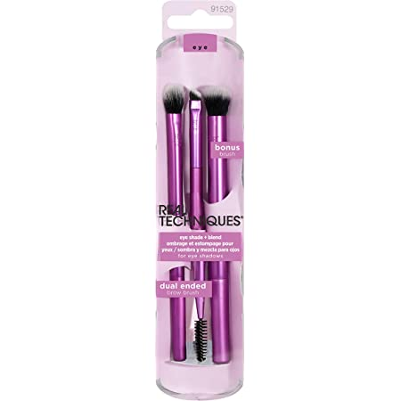 Real Techniques Eyeshadow Makeup Brush Set, Easily Shade and Blend, 3 Count, Packaging and Handle Color May Vary