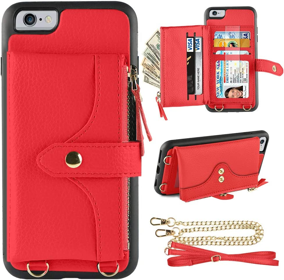 LAMEEKU Wallet Case Compatible with iPhone 6S Plus, iPhone 6 Plus Wallet Case Card Leather Case Wrist Chain Crossbody Strap Zipper Case for iPhone 6 Plus/iPhone 6S Plus, 5.5 inches-Red