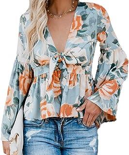 GUOCAI Womens Bohemian Floral Print Flare Sleeve V Neck Loose Chiffon Ruffle Shirt
