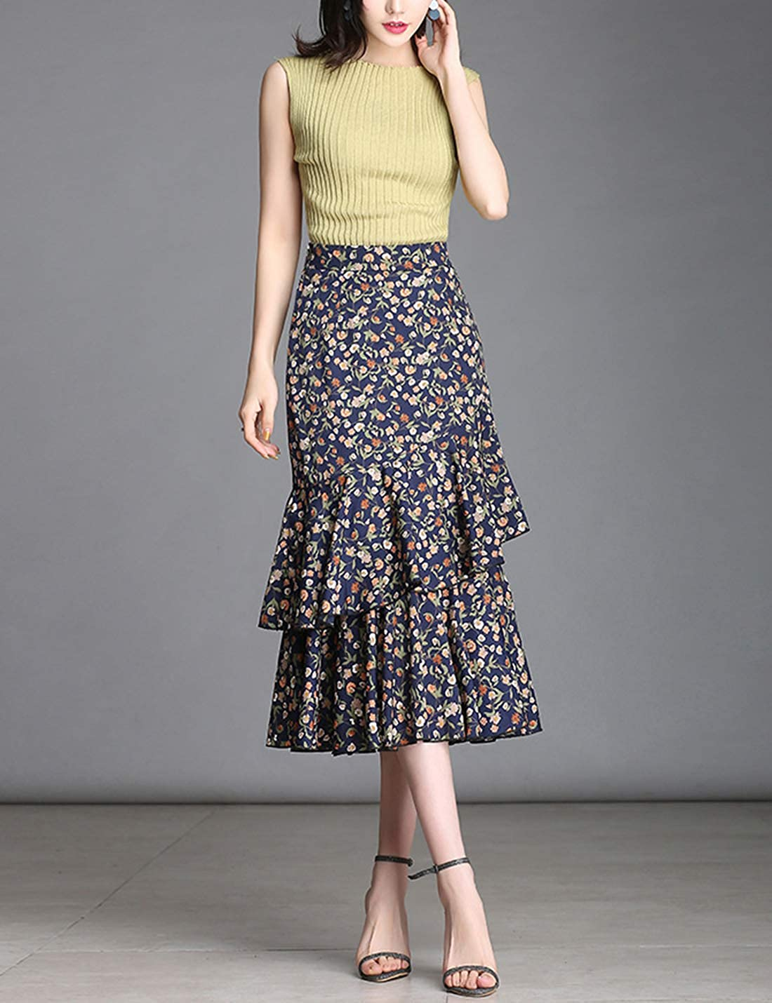 Uaneo Women's Casual Ruffle Flounce Floral Printed Long Skirt (Small, Navy)